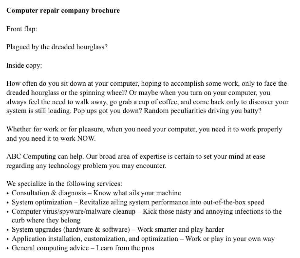 Computer Repair Sample Brochure Copy