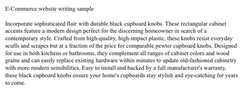 E-Commerce Sample Copy